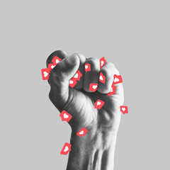 Human fist full of likes. Stop addiction of social media. Modern design, contemporary art collage....