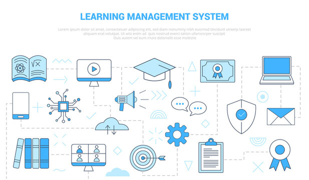 lms learning management system concept with icon set template banner with modern blue color style
