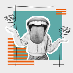 Overjoy of life. Female body with big mouth and tongue sticking out. Modern design, contemporary art collage. Inspiration, idea, trendy urban magazine style. Negative space to insert your text or ad.