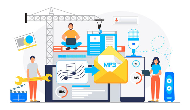 MP3 converter concept with tiny people. Screen with changing or converting process of document to another format. Audio compression. Flat vector illustration for app, website, banner