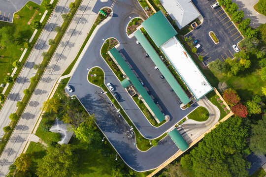 Aerial view of a car wash parking lot in Chicago, Illinois. United States of America.