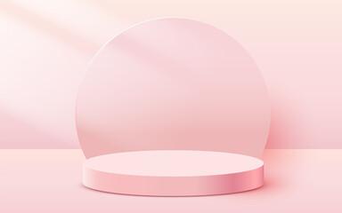 Abstract scene background. Cylinder podium on pink background. Product presentation, mock up, show cosmetic product, Podium, stage pedestal or platform. - fototapety na wymiar