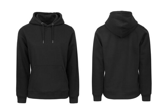 Add your own design. Black Women's Pullover Hoodie with Set-in Sleeve, cutout and Isolated on a White Background for Branding and Personalisation. Photographed on a Medium Female Ghost Mannequin.