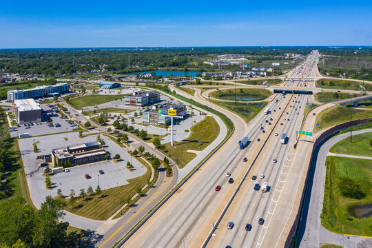 Aerial view of the big junction highway road in the south district of Chicago in Illinois during a beautiful sunny day, United States of America