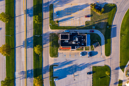 Aerial view of an empty parking lot near Columbia Township in Missouri states of United States of America.