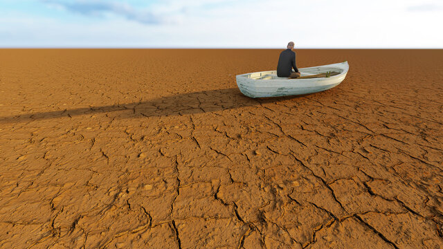 Concept or conceptual desert landscape with a man in a boat as a metaphor for global warming and climate change. A warning for the need to protect our environment and future 3d illustration