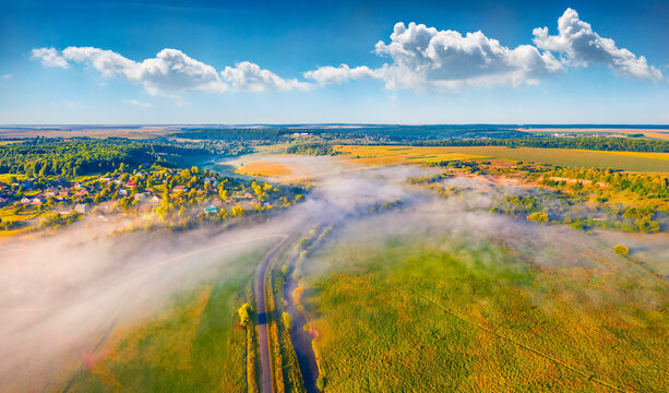 Aerial landscape photography. Colorful summer view from flying drone of Ukrainian countryside. Amazing summer scene of outskirts of Ternopil town, Ukraine, Europe.