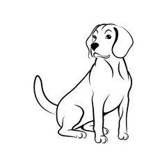Fototapeta Sitting dog. Cute beagle dog in a sitting position black outline isolated on white background. Vector illustration