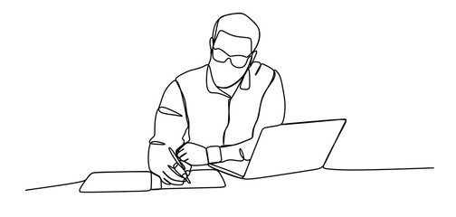Man writing notes - Continuous one line drawing