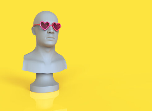 Male mannequin head with pink heart shaped glasses. 3d minimal illustration