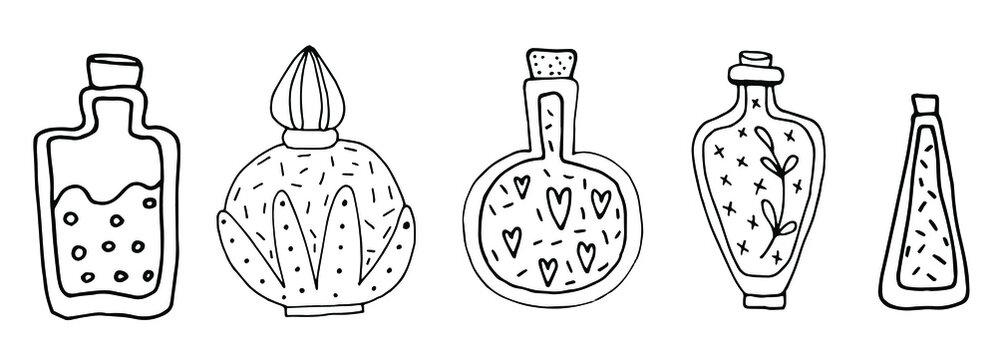 set of jars with magic elixir, doodle illustration