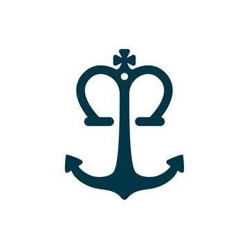 monogram anchor king modern logo