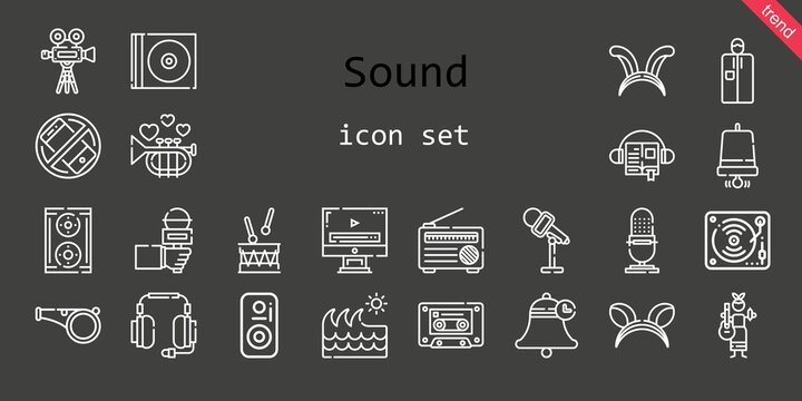 sound icon set. line icon style. sound related icons such as cd, video player, silent, audiobook, headphones, whistle, video camera, drum, portable, cassette, bell, wave, radio, guitar, ears