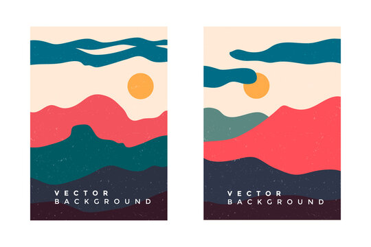 Vector set of minimalist mountain landscapes, cover design, posters, abstract art, cards.Mountains landscape design.Colorful poster, cover design.