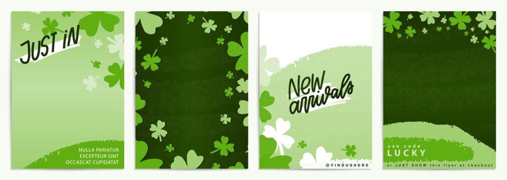 Saint Patrick's day abstract flyer vector design template set. Green advertisement banner with hand drawn shamrock frame clipart and organic shapes. Vertical 5x7 card with New arrivals and Just in pro