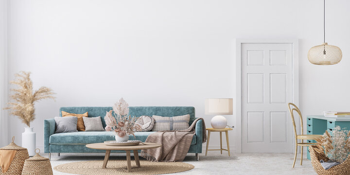 Home interior mock-up with blue sofa, wooden table and decor in white living room, panorama, 3d render