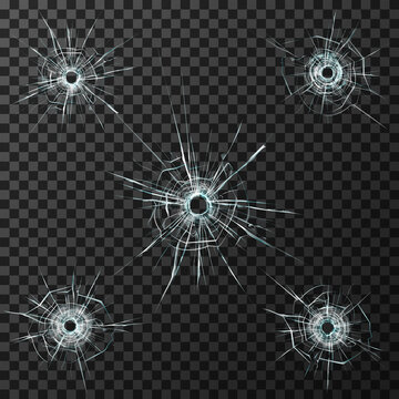 Bullet Holes Template Glass. Stock Vector