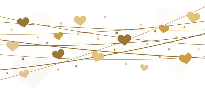 hearts on strings background for valentine's day