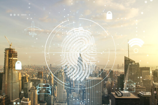 Multi exposure of virtual fingerprint scan interface on Manhattan office buildings background, digital access concept