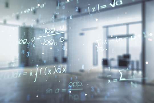 Scientific formula illustration on a modern furnished classroom background, science and research concept. Multiexposure