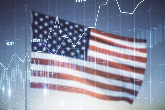 Double exposure of virtual creative financial diagram on US flag and blue sky background, banking and accounting concept