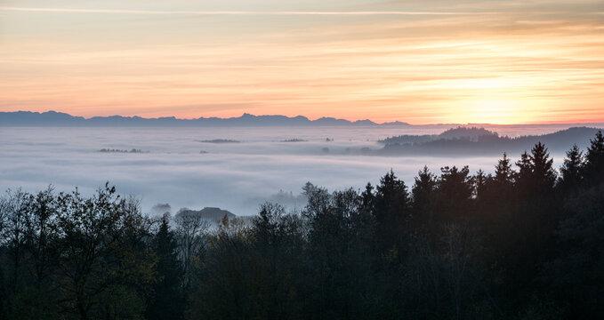 Nebel und Alpen