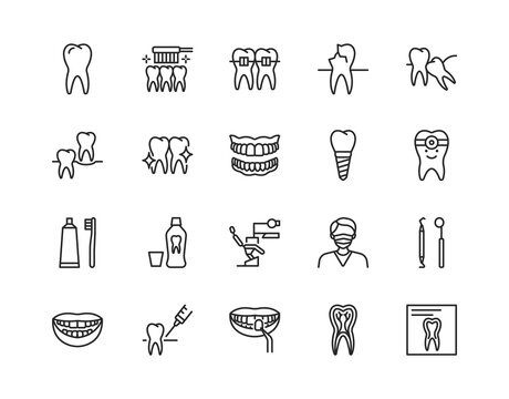 Dentistry flat line icon set. Vector illustration symbol for dental clinic design. Included orthodontics, prosthetics treatment and care. Editable strokes.