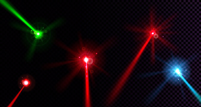 Laser beams set isolated on transparent background. Vector realistic mockup of neon rays with glow effect and lens flares. Red, green and blue lazer light trails, bright glowing rays in dark