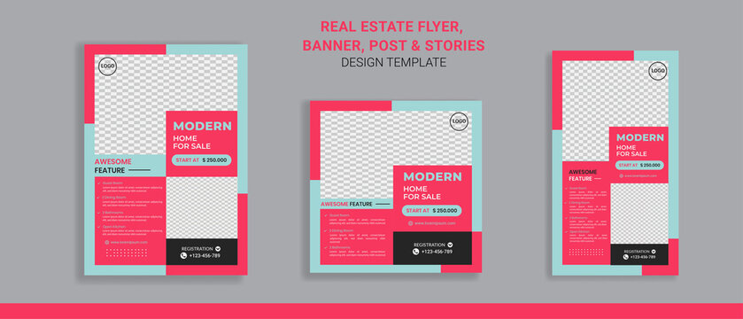 Real estate sale flyer banner social media post and stories perfect for business promotion