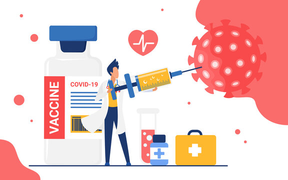 Doctor killing coronavirus with antiviral vaccine vector illustration. Cartoon medical worker character holding big syringe injection during vaccination process to kill virus cells isolated on white