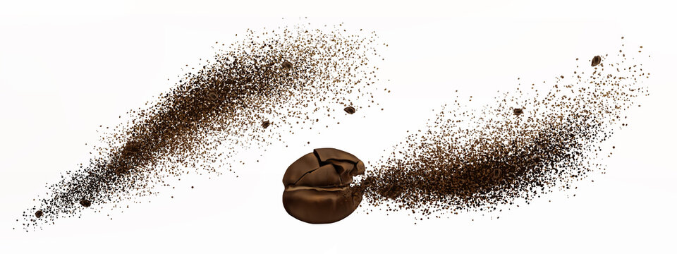 Coffee explosion, realistic cracked bean and ground powder burst with brown particles splash, flying granules, design elements for beverage or cafe isolated on white background, 3d vector illustration