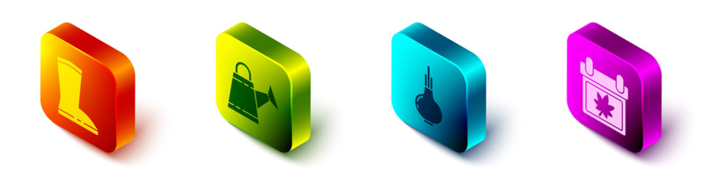 Set Isometric Waterproof rubber boot, Watering can, Onion and Calendar with autumn leaves icon. Vector.