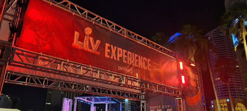 Tampa, Florida USA - January 31 , 2021: View of the the Super Bowl LV Experience Event entrance at night in Downtown