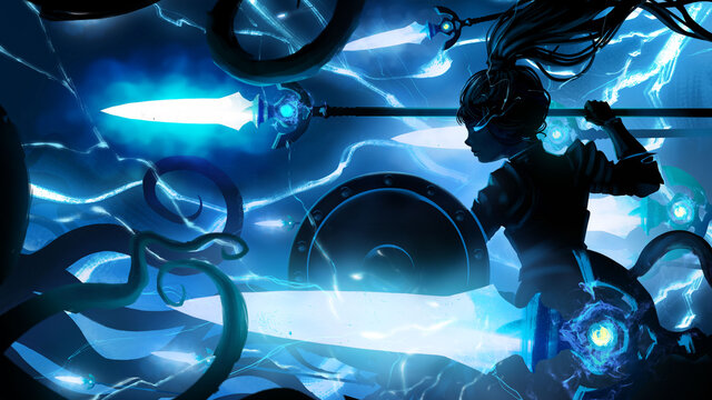 The black silhouette of the thunder goddess girl hovering in the air with her shield and spear at the ready, lightning flashing from her weapons as she fights a monster with many tentacles. 2d
