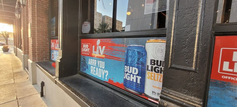 Tampa, Florida USA - January 31 , 2021: View of Window Bar for the Super Bowl LV football game in Downtown Tampa