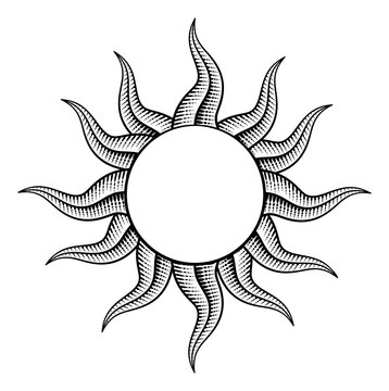 A sun or star outline border frame drawing in a retro woodcut vintage engraved style