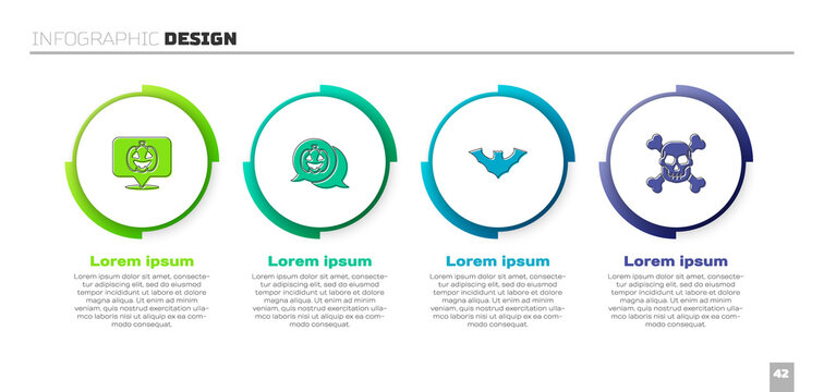 Set Pumpkin, , Flying bat and Skull on crossbones. Business infographic template. Vector.