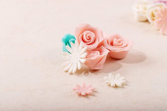 Homemade white and pink marzipan roses