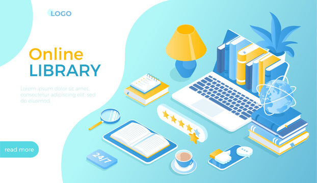 Online Library. E-library application, Electronic books, Virtual cloud storage, Archive. A shelf with books in a laptop, open book on tablet. Isometric vector illustration for website.