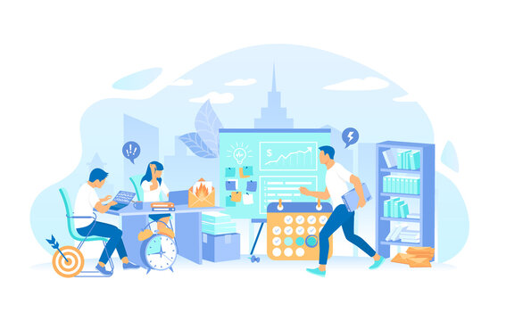 Business team working in an office overtime. Stress and mess in the office. Deadline Asap. All in a hurry to complete the tasks. Vector illustration flat style.