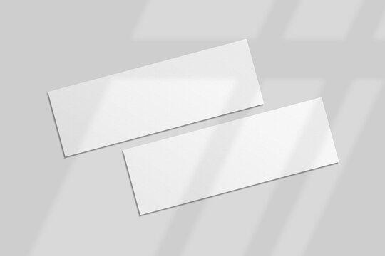 Realistic blank ticket illustration for mockup. 3D Render.
