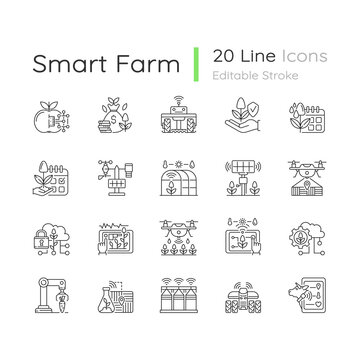 Smart farm system linear icons set. Innovation technology. Industry automatization. Agrotechnology. Customizable thin line contour symbols. Isolated vector outline illustrations. Editable stroke