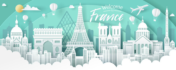 Vector of France landmark, travel and tourism concept.