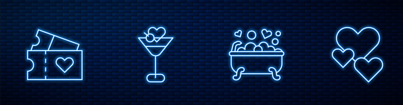 Set line Romantic in bathroom, Love ticket, Martini glass and Heart. Glowing neon icon on brick wall. Vector.
