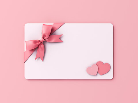 Blank Valentine gift card with pink ribbon bow and mini heart love couple isolated on pink pastel color wall background with shadow minimal conceptual 3D rendering