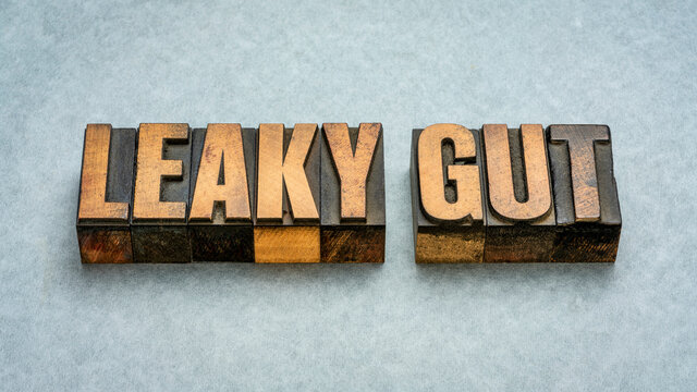 Leaky gut - word abstract in vintage letterpress wood type printing blocks, digestive health concept