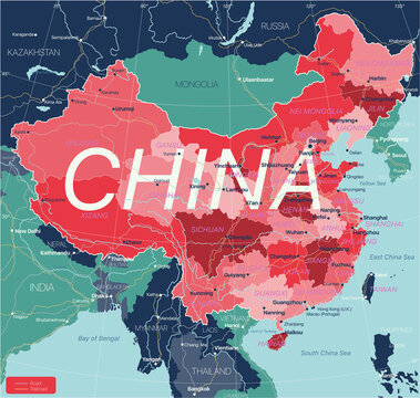 China country detailed editable map with regions cities and towns, roads and railways, geographic sites. Vector EPS-10 file