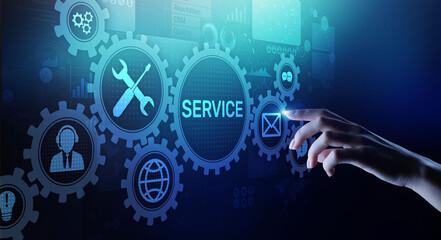Fototapeta Service support customer help call center Business technology button on virtual screen. obraz