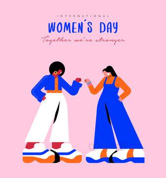 Happy Women's Day card girl friend fist bump