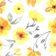 Yellow watercolor flowers with grey leaves on white. Transparent watercolor flowers backdrop